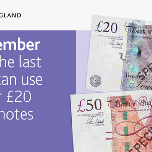 The Bank of England will be withdrawing legal tender status of the paper £20 and £50 notes after 30 September 2022.